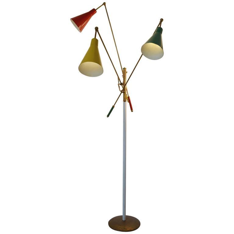 1950s Italian Multicolored Modernist Floor Lamp in the Style of Arredoluce