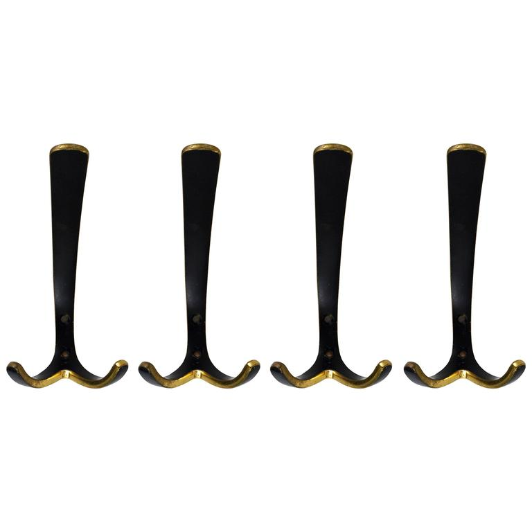 Up to Four Mid-Century Brass Wall Hooks by Hertha Baller, Austria, 1950s