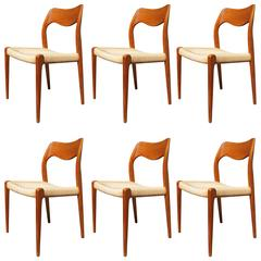 Set of Six Teak Dining Chairs, Model 71 by Niels Otto Møller