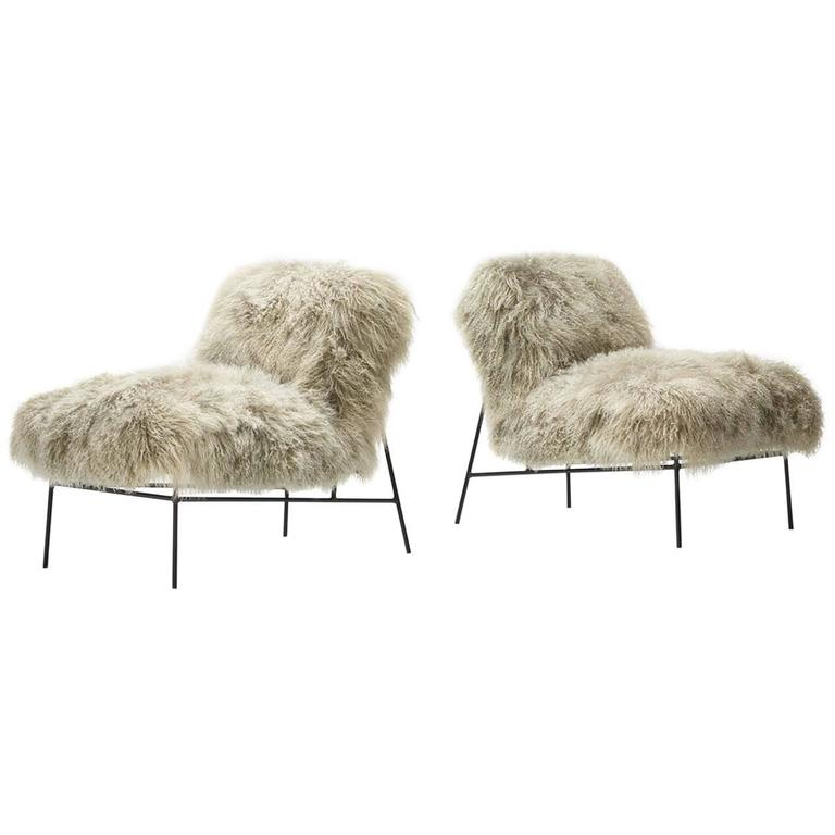 Pair Of American Lounge Chairs In Mongolian Lamb Shearling For Sale