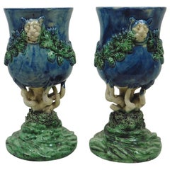 Pair of Majolica Palissy Chalices with Grapes