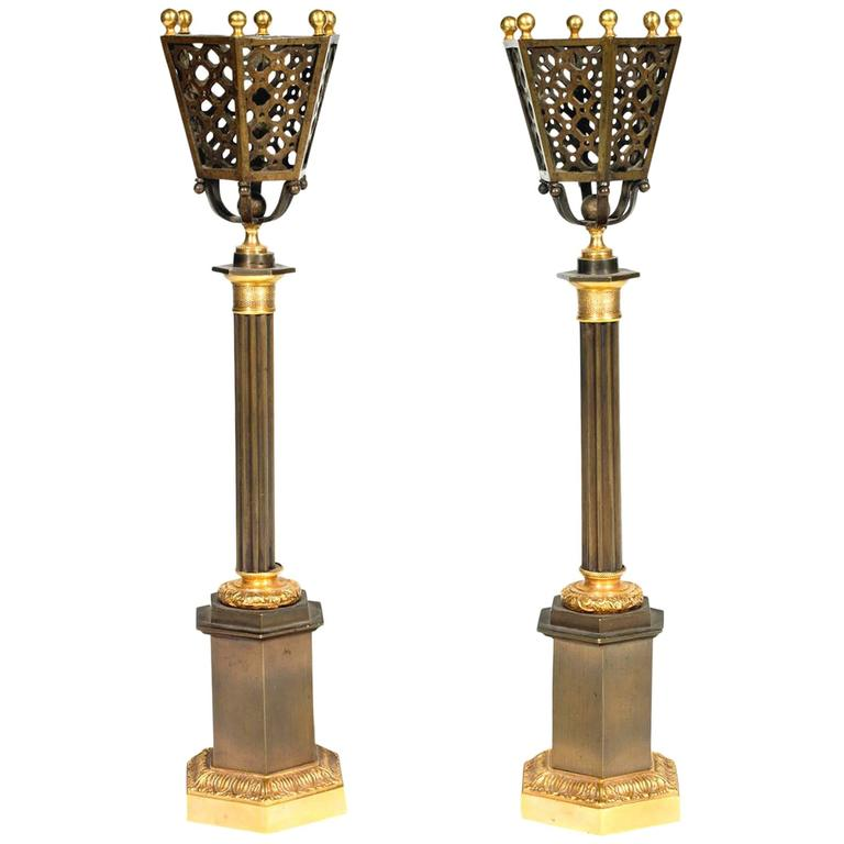 19th Century Regency Pair of Bronze and Gilt Brass Table Lamps