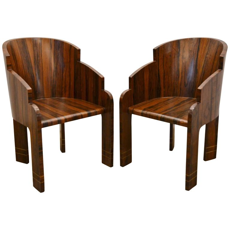 Pair of Art Deco Rosewood Barrel Back Tub Chairs, circa 1940