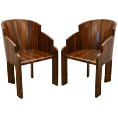 Pair of Art Deco Rosewood Barrel Back Tub Chairs, France, 1940