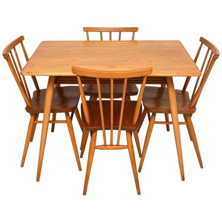 Retro Elm Dining Table And Chairs By Ercol Vintage, 1960s