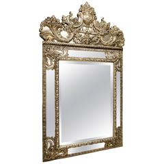 Mirror in Louis XIV Style in Embossed Silver Plated Brass, France 19th Century
