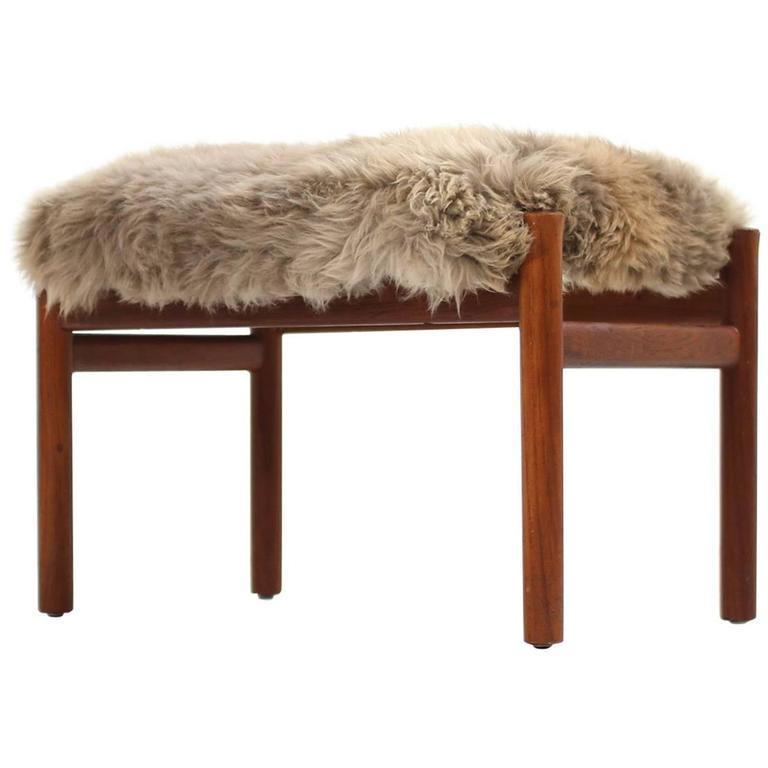 Beautiful 1960s Danish Mid-Century Modern Teak Stool with Sheepskin Upholstery