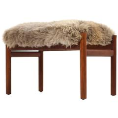 Beautiful 1960s Danish Mid-Century Modern Teak Stool with Sheepskin Upholstery