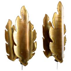 Brass Sconces Pair, by Holm Sorensen, 1960s, Brutalist Style Brass Wall Lamps