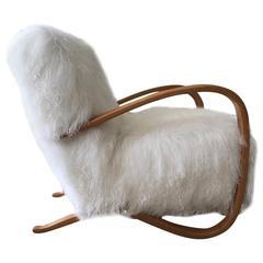 Jindrich Halabala Armchair in Tibetan Lamb'S Wool