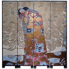 Rare Screen with Gustav Klimt the Kiss, France, 1970s