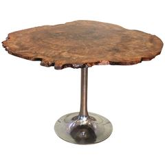 Modern Free Form Burl Walnut & Polished Aluminum Tulip Dining Kitchen Table