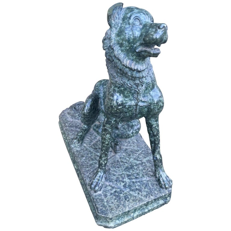 Italian Marble Sculpture of a Dog For Sale