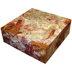 Large Custom-Made Square Onyx Marble Coffee Table on Wheels