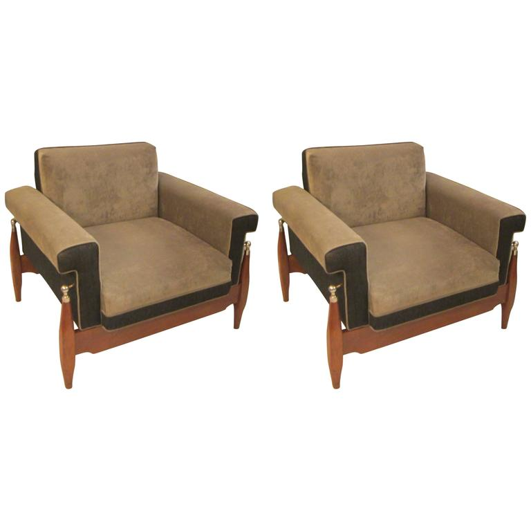 Unusual Pair of Sculptural Mid-Century Modern Armchairs 1