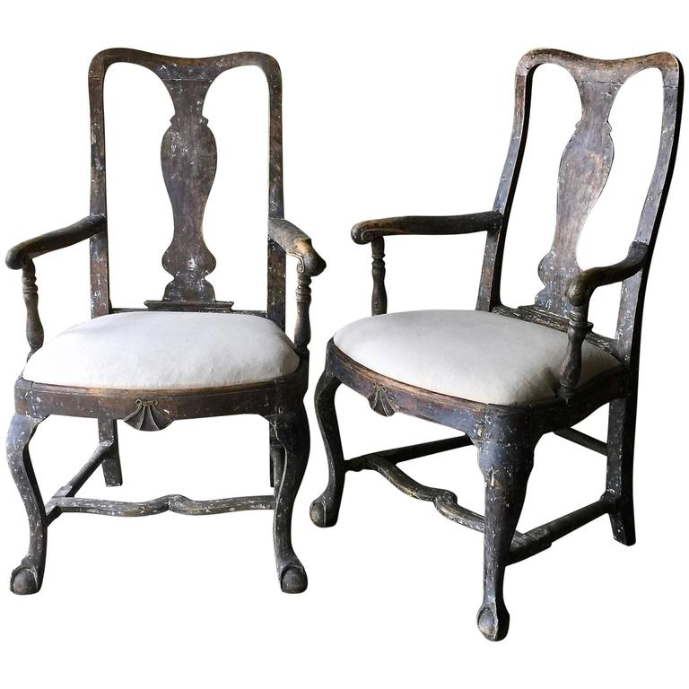 Pair of 18th Century Swedish Period Rococo Armchairs 1