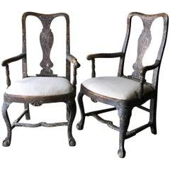 Pair of 18th Century Swedish Period Rococo Armchairs