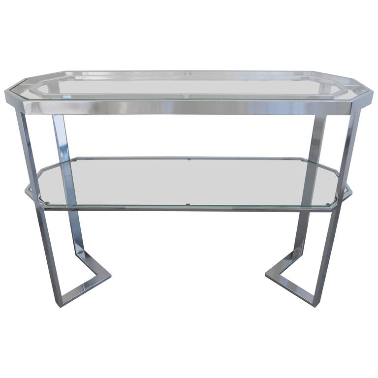 Gleaming Chrome Console Table by Milo Baughman for DIA, 1970s
