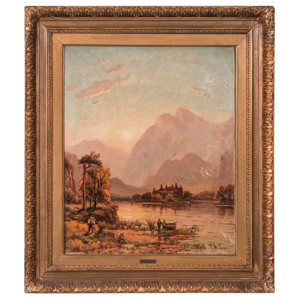 Antique Original Landscape Oil Painting Signed and Dated D. McLea, 1911