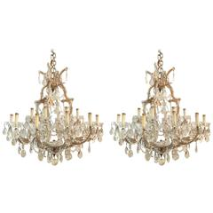 Pair of Antique Venetian Twentyone Light Chandeliers