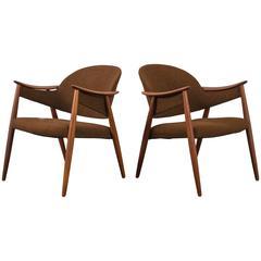 Gerhard Berg Teak Lounge Chairs, Norway, 1950s
