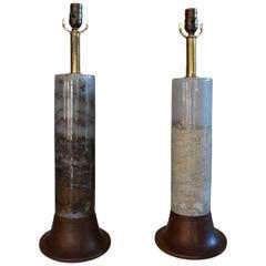 Pair of Italian Mid-Century Modern Marble Lamps