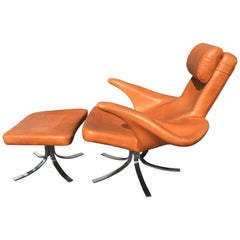 Cognac Leather 'Seagull' Chair and Ottoman by Gosta Berg and Stenerik Eriksson