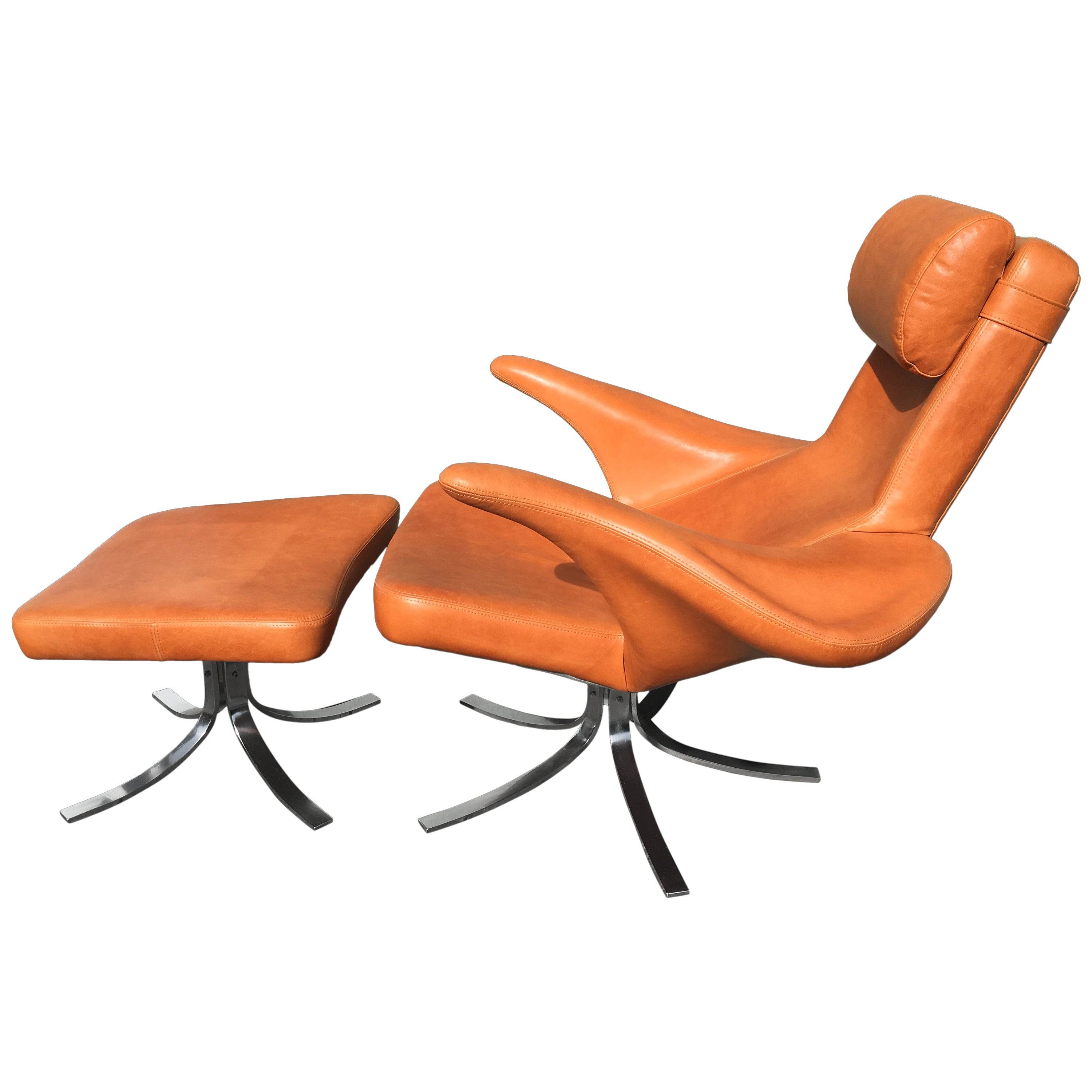 Wondrous Cognac Leather Seagull Chair And Ottoman By Gosta Berg And Stenerik Eriksson Gmtry Best Dining Table And Chair Ideas Images Gmtryco