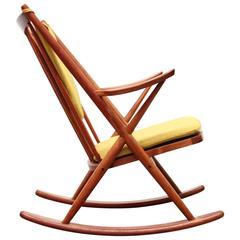 Frank Reenskaug Danish Modern Teak Rocking Chair for Bramin