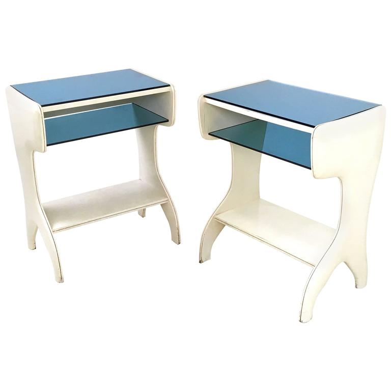 Pair of Lacquered Wood and Glass Little Consoles, Italy, 1950s