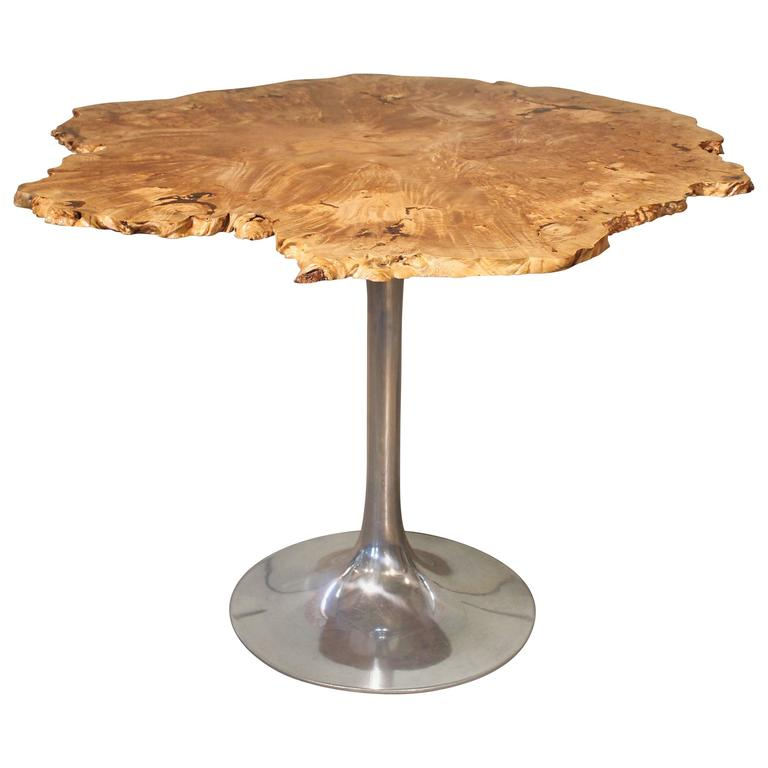 Dining Table Free Form Modern Burl Live Edge Maple Wood & Aluminum Tulip Base For Sale