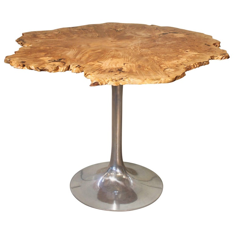 Dining Table Free Form Modern Burl Live Edge Maple Wood  For Sale