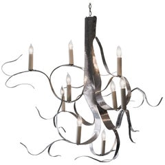 """Chandelier in Hand-Hammered Aluminum by Jacques Jarrige """"Fiori"""""""