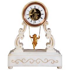 Eugéne Farcot Rare Large Marble Cherub on a Swing Boudoir Clock, circa 1870
