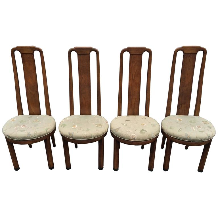 Set Of Four High Back Henredon Dining Chairs For Sale