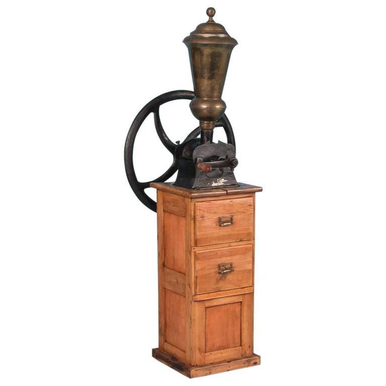 Antique Early 20th Century Danish Commercial Cast Iron Coffee Grinder