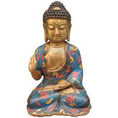 Chinese Gilt Bronze and Enamel Shakyamuni Tathagata Buddha Statue