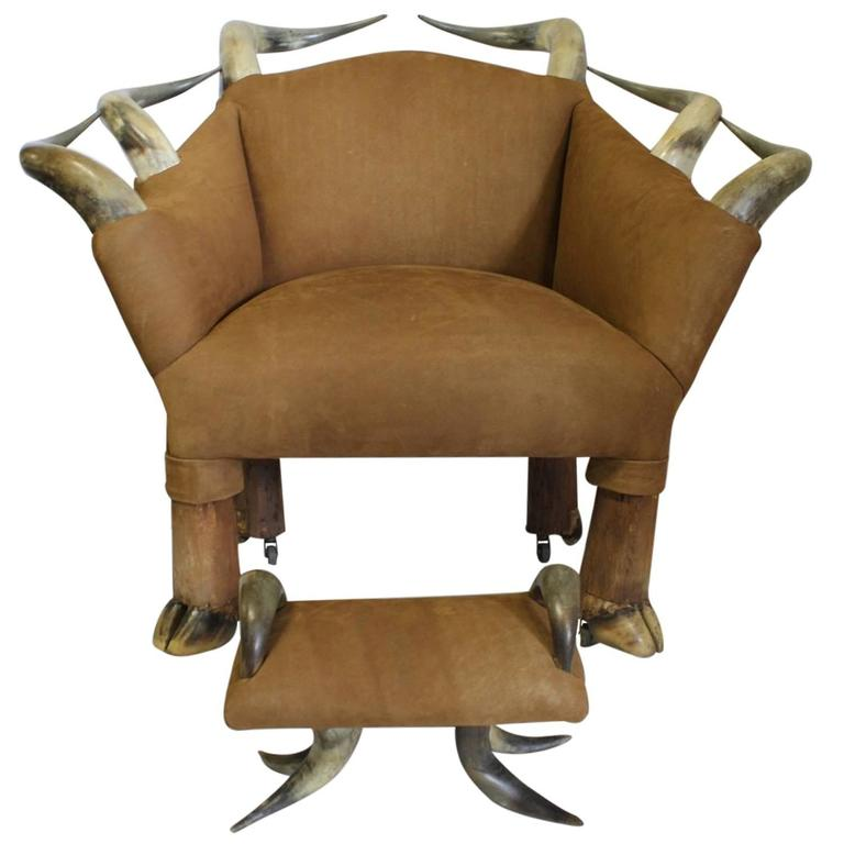 Spectacular Antique Horn and Suede Lounge Chair and Ottoman