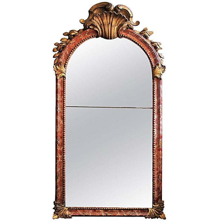 18th Century Italian Polychrome and Parcel-Gilt Mirror 1