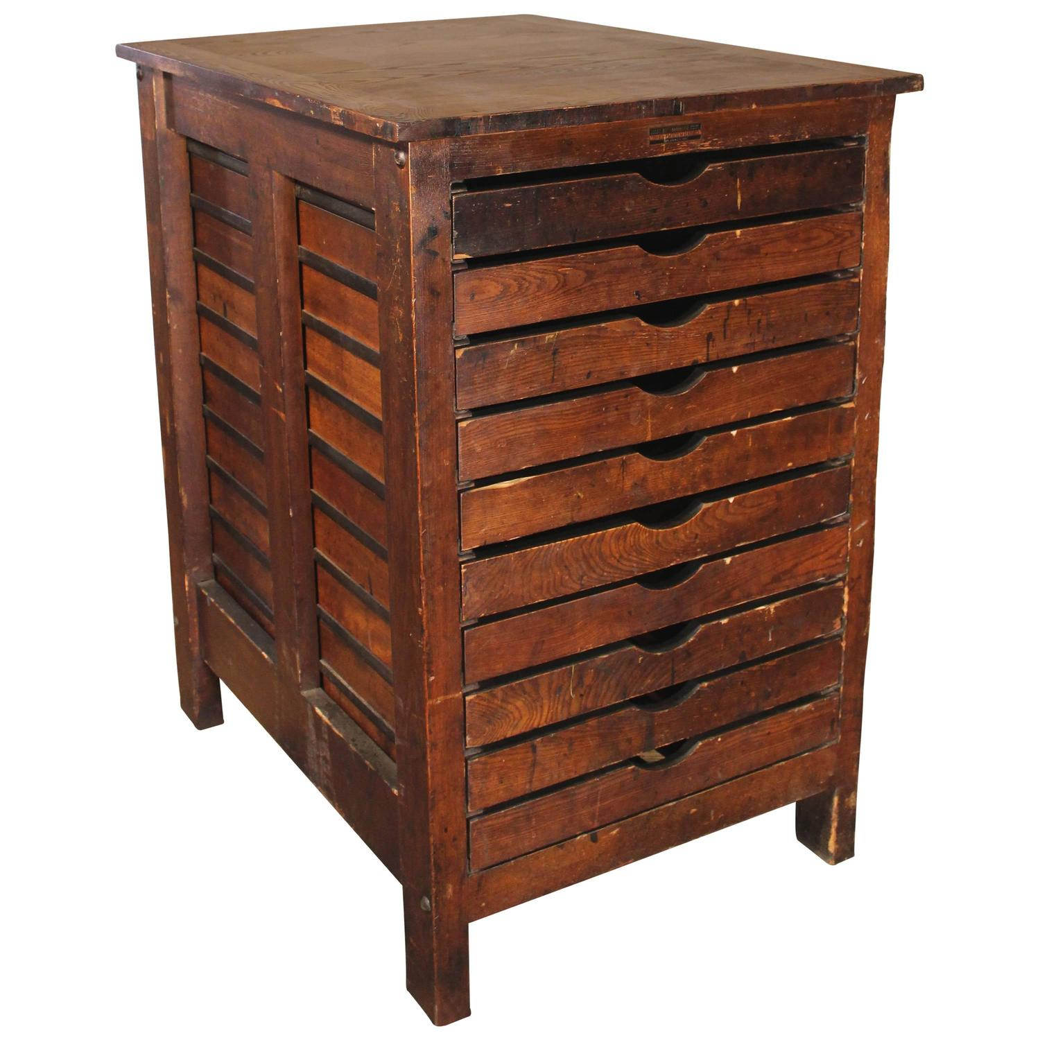 Vintage apothecary cabinet for sale - Vintage Flat File Industrial Wood Hamilton Multi Drawer Printers Storage Cabinet
