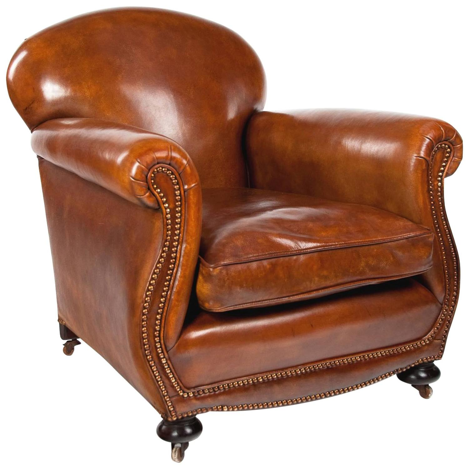 Quality Victorian Shaped Leather Club Armchair at 1stdibs
