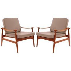 Pair of Finn Juhl Teak & Leather Lounge Chairs