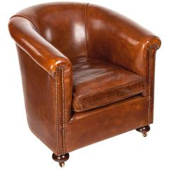 Antique Leather Tub Armchair