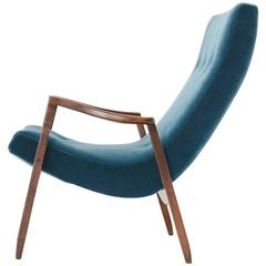 Milo Baughman Scoop Lounge Chair in Blue Velvet with Maple Frame