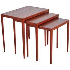 Refinished Eske Kristensen Teak Nesting Tables by Ludwig Pontoppidan, circa 1960