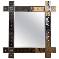 French Mid 20th Century Etched Glass Wall Mirror