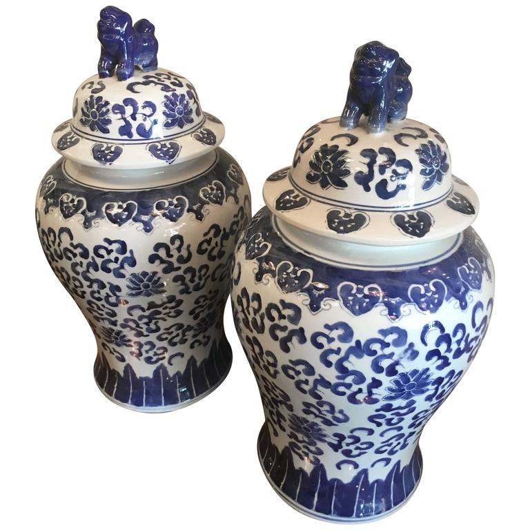 Foo Dogs Blue And White Ginger Jars Pair Vintage Large Urns Palm Beach Oriental For