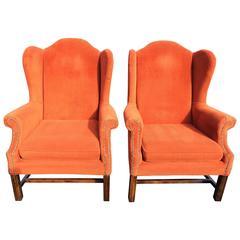 Pair of Orange Corduroy Wing Back Chairs