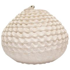 Textured Cream Snake Pottery by Jackie J.H. Shutiva