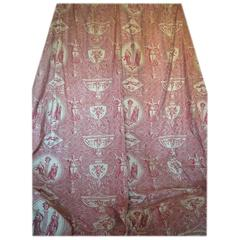 French 19th Century Antique Toile De Jouy Pair of Curtains